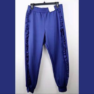 Topshop Ruffle Jogger Pants Pockets Blue Size 8US